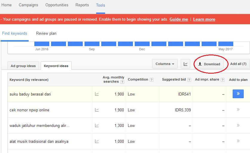cara download hasil keyword planner