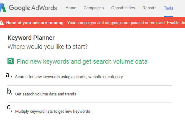 tampilan google planner