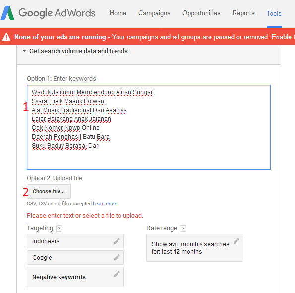 mencari volume pencarian dengan google planner
